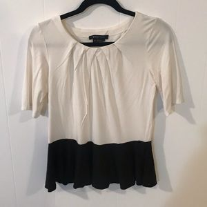 Black & White Etcetera Peplum Top Size Medium